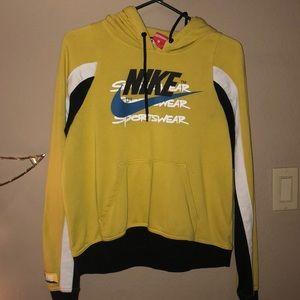 Yellow Nike cropped sweatshirt size small
